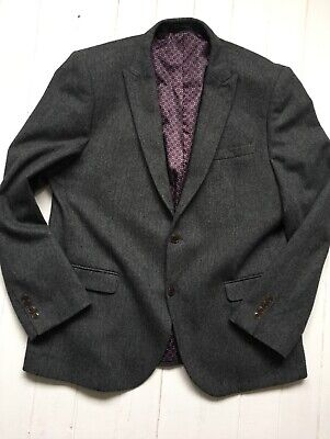 Next Tailoring Mens Tweed Jacket 46R | Charcoal Herringbone