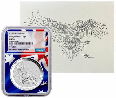 2019 P 1 oz Silver Wedge-Tailed Eagle $1 NGC MS70 & Mercanti Lithograph