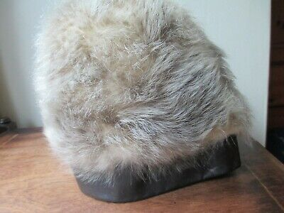 Genuine Vintage 1960's Cream Brown Fur Hat with Real Leather Trim Pixi Top Beret