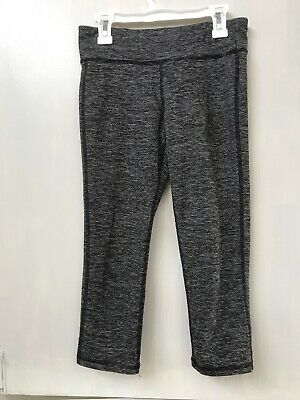 Old Navy Active Girl's L 10/12 Gray Striped Mid-rise Go-Dry Cropped Leggings