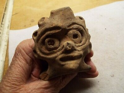 VERY  RARE Pre Columbian  FIGURE  HEAD  FRAGMENT NICE PIECE