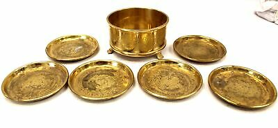 VINTAGE Oriental Style Ornate Brass Coasters In Freestanding Caddy Tidy  - N22