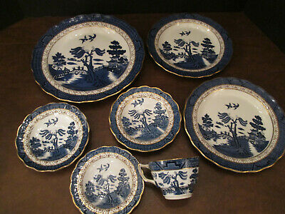 7 Booths China Real Old Willow Plates Saucers and Tea Cup lot SO