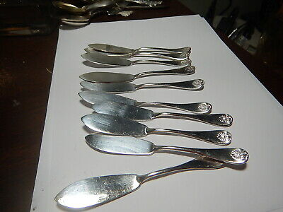 10 Wm Rogers Oneida Ltd individual butter spreaders silverplate shell pattern