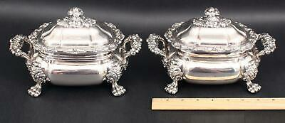 Pair Small Antique English Sheffield Silverplate Vegetable Footed Tureens, NR