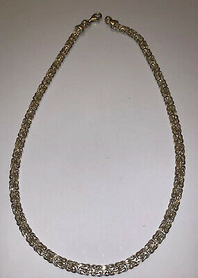 """SMOOTH Stunning Solid Sterling SILVER Oval BYZANTINE Necklace 7MM 18"""" Long"""