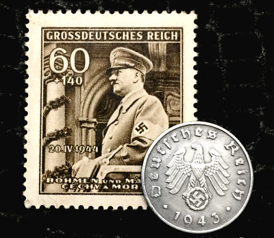 Rare Old WWII German War 1 Reichspfennig Coin & 60pf Stamp World War 2 Artifacts