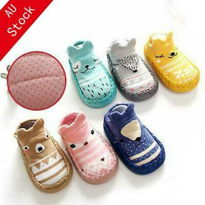 Cute Rubber Cartoon Newborn Baby Girls Boys Anti-Slip Socks Slippers Soft Shoes
