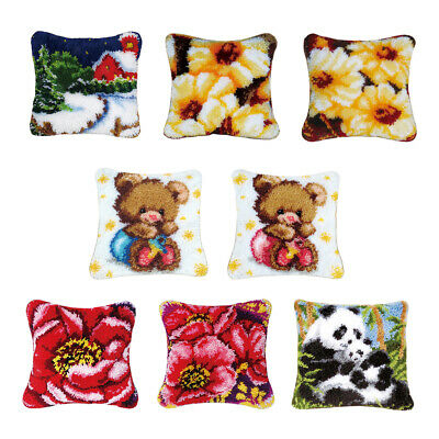 Animal Floral Latch Hook Rug Kit DIY Pillow Cushion Cover for Kids Beginners