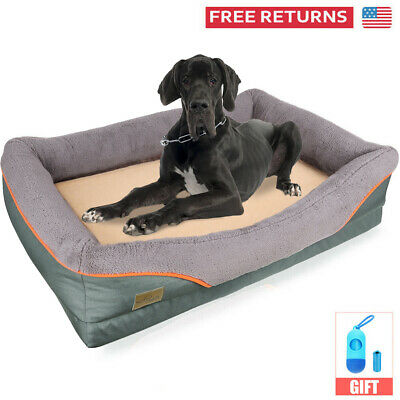 Luxury Extra Large Orthopedic Pet Dog Bed Soft Foam Faux Fleece Kennel Zip Cover