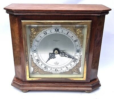 ELLIOTT LONDON Walnut & Burr Walnut Bracket Mantel Clock RUSSELLS LTD