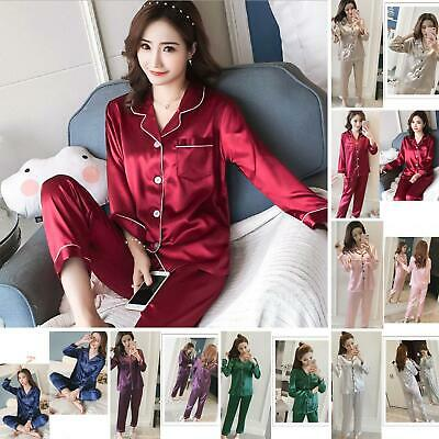 Women's Ladies Satin Pyjama Set Nightwear Pajamas Long Sleeve Nightwear Faddish