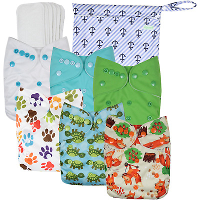 Wegreeco Washable Reusable Baby Cloth Pocket Diapers 6 Pack + 6 Bamboo Inserts 1