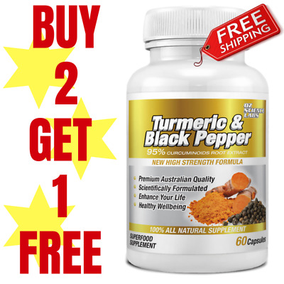Turmeric 95% Curcumin & Black Pepper- 60 Capsules Tablets Pills Extra Strength