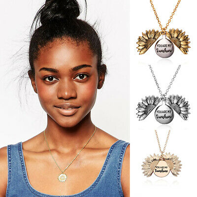 Fashion You Are My Sunshine Sun Flower Diamond Pendent Necklace Jewelry