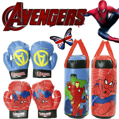 Spiderman Avengers Kids Punching Set Children Boxing Bag Gloves PVC Training Toy