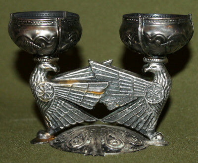 Vintage hand crafted ornate metal candle holder with 2 cups
