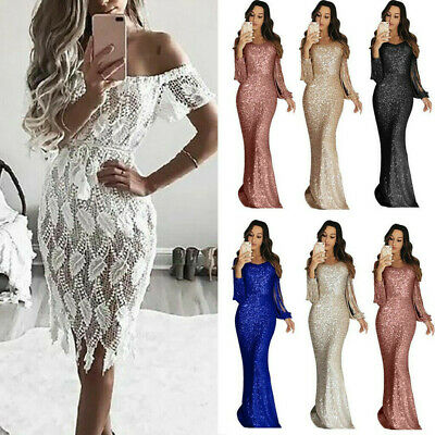 Womens Long Sleeve Mop Party Dress Lady Slim Bodycon Lace Deep V Hollow Dresses