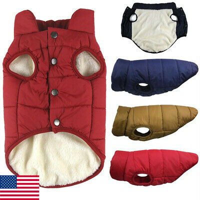 Winter Warm Padded Dog Clothes Waterproof Pet Coats Vest Jacket for Dogs US