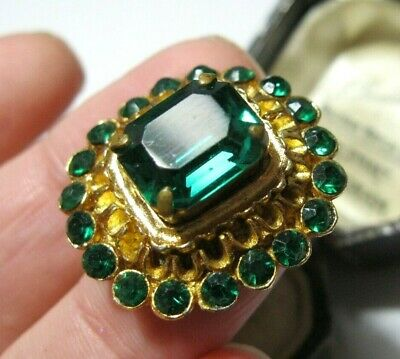 Vintage Jewellery 1930s Antique Art Deco Emerald Green Glass Crystal Pin BROOCH