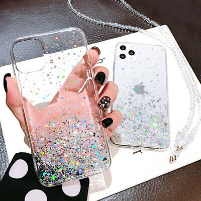 Clear Bling Glitter Silicone Protective Case Cover For iPhone XR XS 11 Pro Max 7