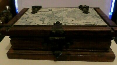 Old Rare Wooden Map Of The World On Lid Brass Fittings Jewellery Box 22 X16X7 Cm