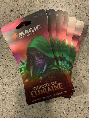 MTG Throne of Eldraine 15 Card Collector Supercharged Booster Packs x(7) sealed!