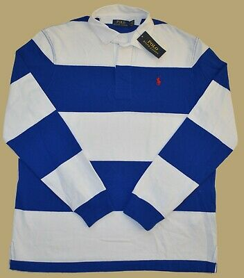 M L POLO RALPH LAUREN Rugby Shirt Mens long sleeve Classic Fit blue white NEW