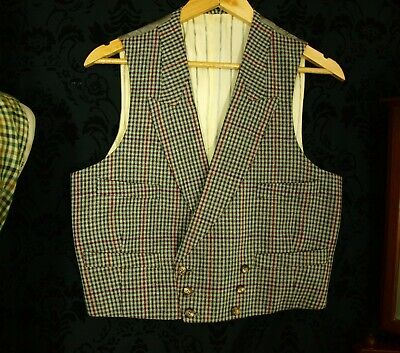 Mens VTG Tweed 3 Piece Moss Bros Country Suit waistcoat  Sz 38 small short