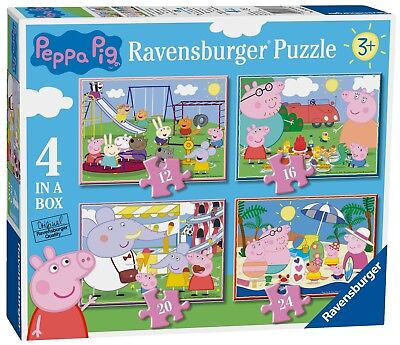 NEW! Ravensburger Peppa Pig Fun Days Out 4 in a box jigsaw puzzle set Age 3+