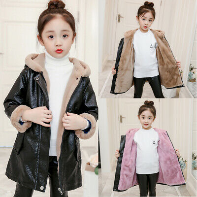 Girls Kids Toddler Warm Winter PU Leather Coat Hooded Fluffy Fleece Parka Jacket