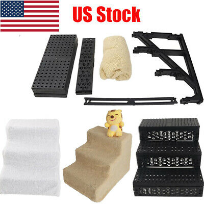 3 Steps Portable Pet Stairs Puppy Kitten Climb Ramp Toy Step Stairs Soft Stairs