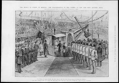 1902 Antique Print - BRISTOL New Dock King Edward Inauguration Avonmouth (381)