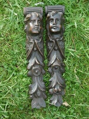 SUPERB Pr 19thc ARCHITECTURAL MAHOGANY WOOD CARVED ANGEL CORBELS  C.1870