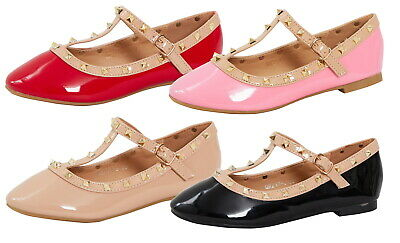 Girls Studded Patent Ballet Shoes Kids T-Bar Faux Leather Flat Party Shoe Size
