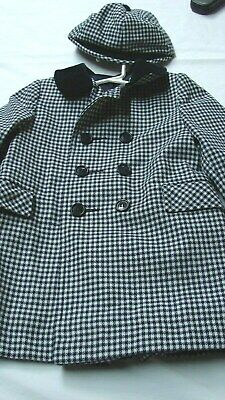 1950s 60s VINTAGE LITTLE BOYS NAVY CHECK DOUBLE BREASTED WOOL OVER COAT & CA[