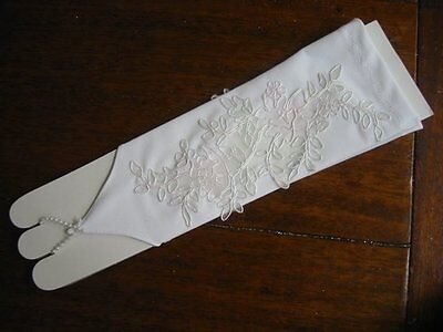 Bridal Gloves Arm Warmers with Opening Wedding~Handmade~White #05 New