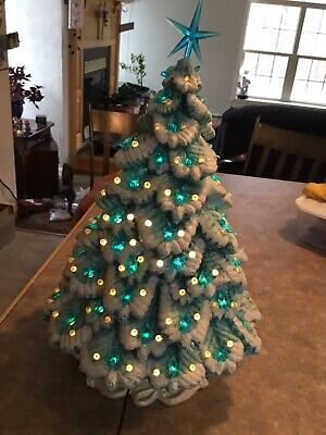 "Vintage Ceramic Christmas Tree Blue Bird Frosted Snow Handmade Large 17"" Lighted"