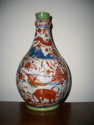 Chinese Blue & White Porcelain Garlic Neck Bottle Vase, Later Enameled, 18Th C.