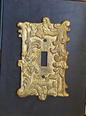 Antique ornate thick solid brass light switch plate electric outlet cover HTF!