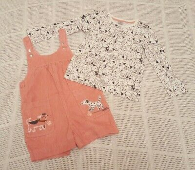 TU Pink cord short dungarees & white long sleeved top dog design. Age 2-3 VGC