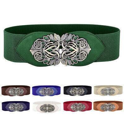 Women Ladies Elastic Bow 6cm Wide Stretch Wrap Buckle Waistband Waist Belt Band