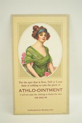 Pin up Woman Ink Blotter Advertising Vintage Original 1920s Athlo-Ointment 4a