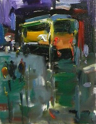JOSE TRUJILLO - ORIGINAL Oil Painting CITY ABSTRACT Expressionism MODERNISM