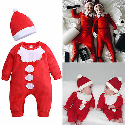 Newborn Baby Boy Girl Cute Christmas Santa Claus Jumpsuit Romper Hat Ourfit Sets