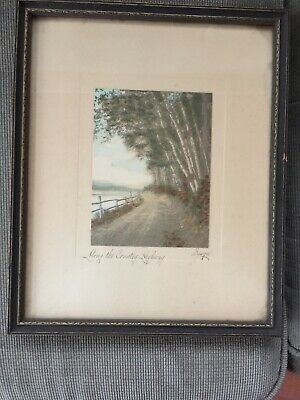 "CHARLES SAWYER HAND COLORED PHOTO PRINT  Along The Country Highway.  9 1/2""by 11"