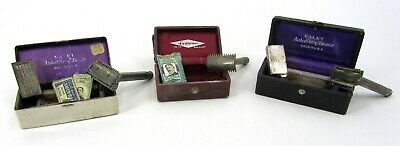 Lot Of 3 Vintage/Antique Safety Razors In Cases - Valet Auto Strop & Gillette