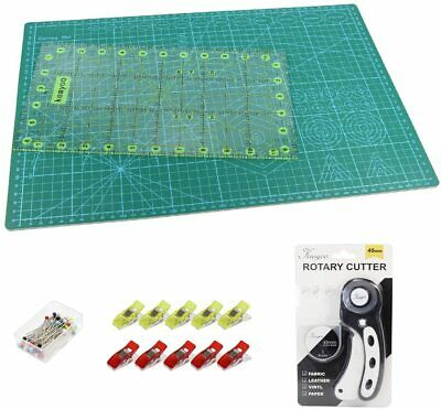 A3 Cutting Mat Rotary Cutter Spare Blade Patchwork Ruler  Clips Pins Set