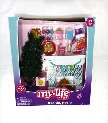 "MY LIFE AS HOLIDAY DECORATIONS PLAYSET 18"" Dolls with Light Up Christmas Tree"
