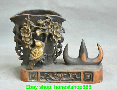 "6"" Old Chinese Copper Dynasty Palace Flower Bird Pencil Vase Brush Pot"